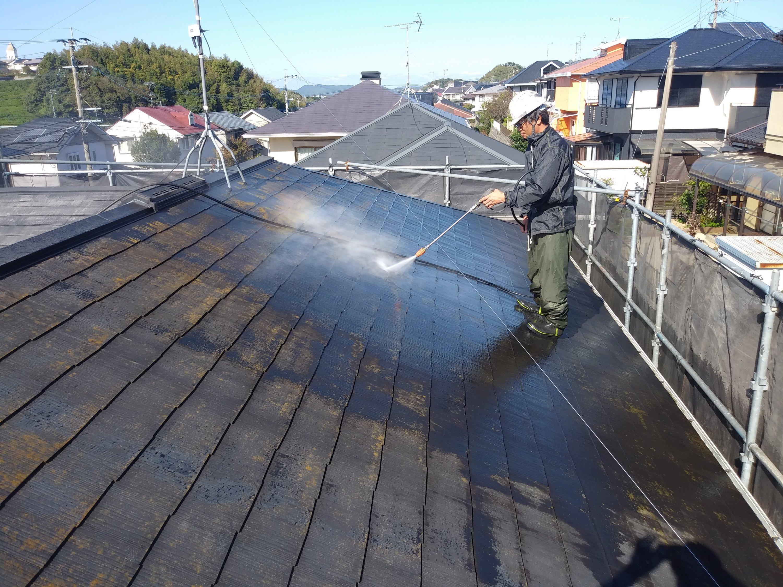 福岡県自由ヶ丘南H様邸施工1日目高圧洗浄作業