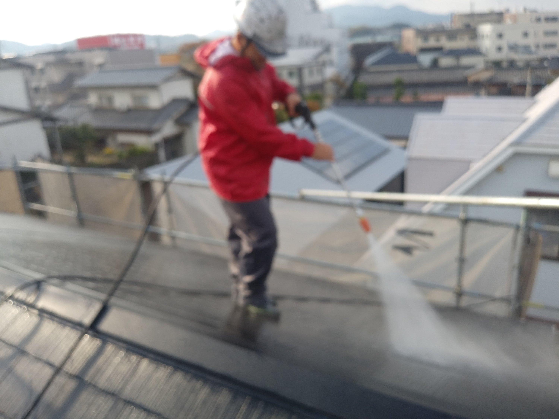 福岡県宗像市自由ヶ丘S様邸施工1日目高圧洗浄作業