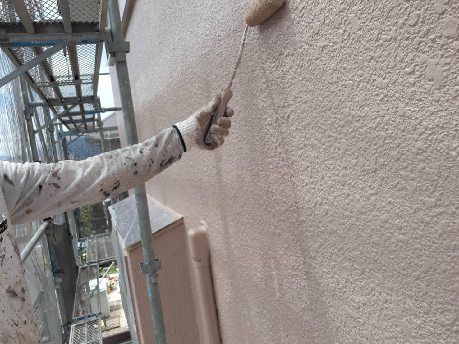 宗像市泉ヶ丘M様邸施工8日目外壁上塗り付帯塗装作業