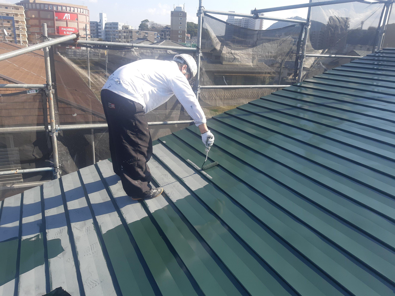 宗像市平井 M様邸施工5日目屋根塗装作業