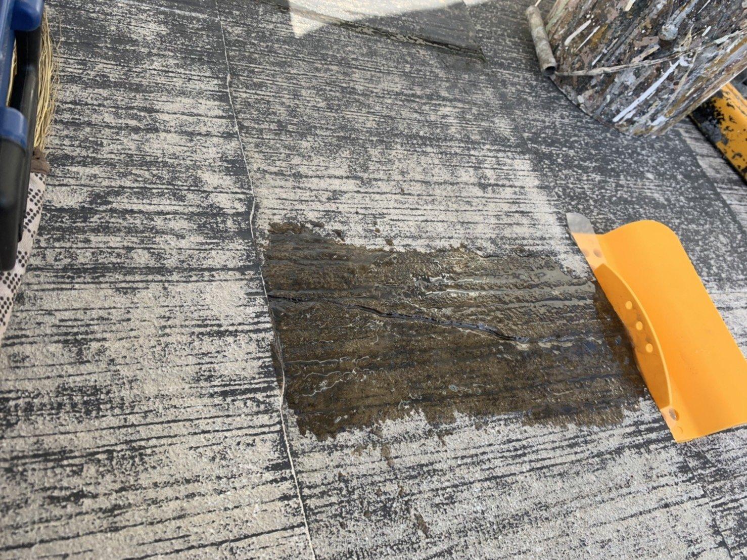 宗像市自由ヶ丘N様邸施工3目サビ止め付帯塗装屋根ひび割れ補修作業