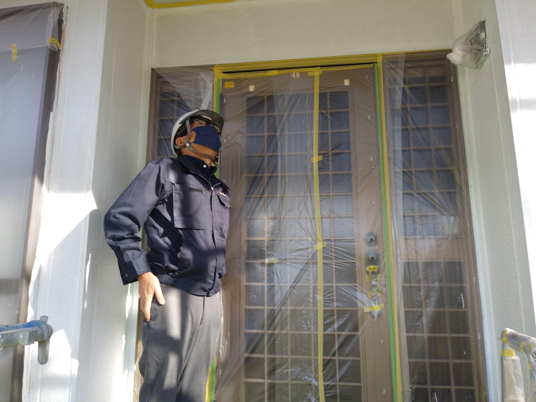 宗像市自由ヶ丘N様邸施工6目中間検査外壁中塗り屋根中塗り作業